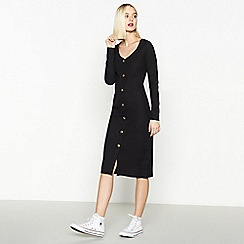 Red Herring - Black Ribbed Button Through Midi Dress