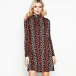 Red Herring - Brown snake print roll neck knee length swing dress