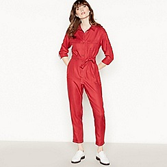 Red Herring - Red Twill Belted Utility Jumpsuit