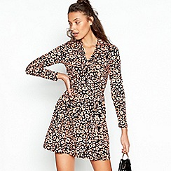 Red Herring - Pale Pink Leopard Print Side Button mini Length Dress