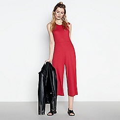 Red Herring - Red Ribbed Bow Shoulder Wide Leg Jumpsuit