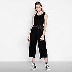 Red Herring - Black Ribbed Bow Shoulder Wide Leg Jumpsuit
