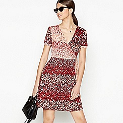 Red Herring - Multicoloured Floral Print Knee Length Wrap Dress