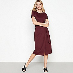 Red Herring - Plum Tie Waist Midi Wrap Dress