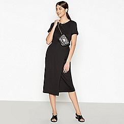 Red Herring - Black Tie Waist Midi Wrap Dress