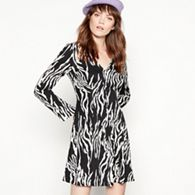 3bcb79f8f1 Red Herring Navy Zebra Print Popper Mini Dress