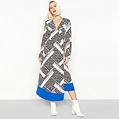 Red Herring - Ivory Geo Block Leopard Print Midi Length Wrap Dress