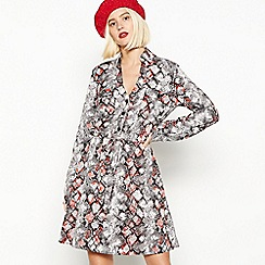 Red Herring - Grey Snake Print Mini Shirt Dress