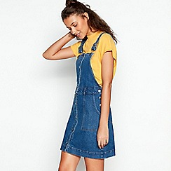 Red Herring - Dark Blue Denim Mini Pinafore Dress