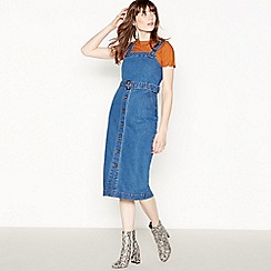 Red Herring - Dark Blue Denim Midi Pinafore Dress
