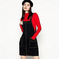 Red Herring - Black Denim Pinny Mini Dress
