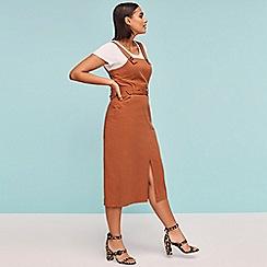 Red Herring - Dark Orange Utility Knee Length Pinafore Dress