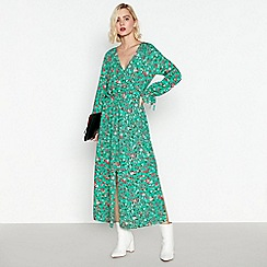 Red Herring - Green Floral Print Midi Dress