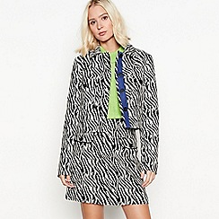 Red Herring - Black zebra print cotton-blend short jacket