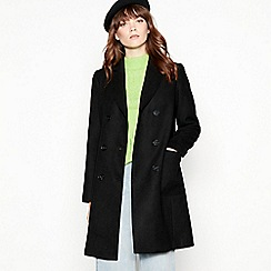 Red Herring - Black utility double breasted coat