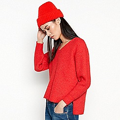 Red Herring - Red Slouch Chunk Knit V-neck Jumper