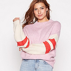 Red Herring - Light purple striped sleeve jumper