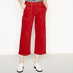 Red Herring - Red Contrast Stitch WIde Legged Cropped Utility Jeans