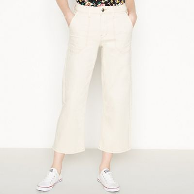 Red Herring   White Contrast Stitch 'utility' W Ide Legged Cropped Jeans by Red Herring