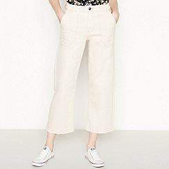 Red Herring - White Contrast Stitch 'Utility' WIde Legged Cropped Jeans
