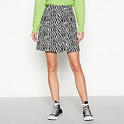 Red Herring - Black zebra print cotton-blend mini skirt