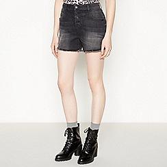 Red Herring - Black 'Carly' Denim Mom Shorts