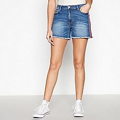 Red Herring - Dark Blue Side Stripe Denim Shorts