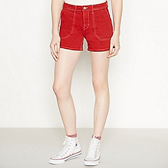 Red Herring - Red Contrast Stitch Utility Shorts