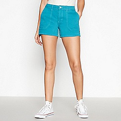 Red Herring - Turquoise Contrast Stitch Utility Shorts