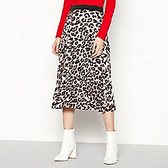 Red Herring - Camel Leopard Print Pleated Midi Skirt