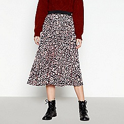 Red Herring - Pale Pink Leopard Print Pleated Midi Skirt