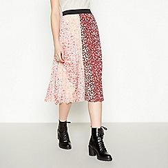 Red Herring - Multicoloured Floral Print Pleated Midi Skirt