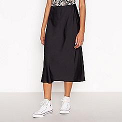 Red Herring - Black Knee Length Bias Cut Skirt