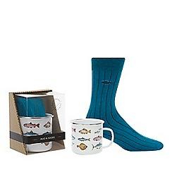 Gentlemen's Society - Blue Socks and Fish Mug Gift Set