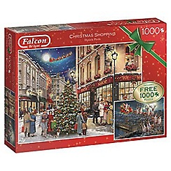 Falcon - Set of 2 'Christmas Shopping' 1000 piece jigsaw puzzles