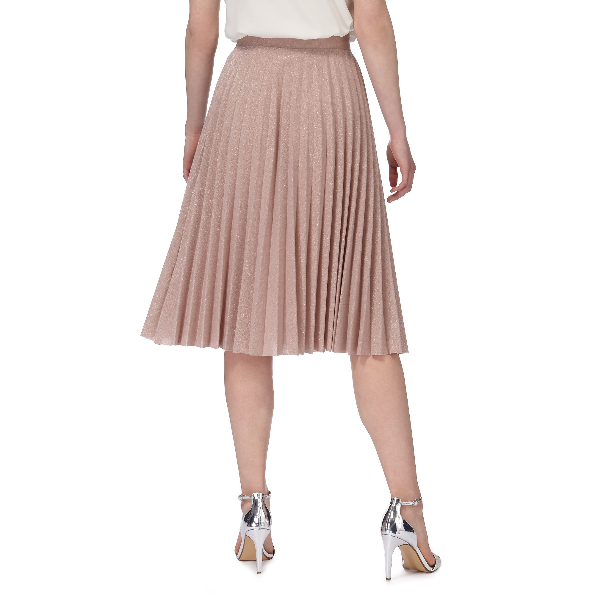 rjr rocha womens pink glittery pleated skirt from