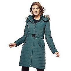 RJR.John Rocha - Dark green faux fur longline coat