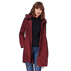 RJR.John Rocha - Dark red shower resistant hooded coat