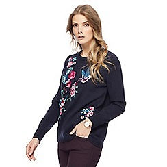 RJR.John Rocha - Navy floral embroidered jumper