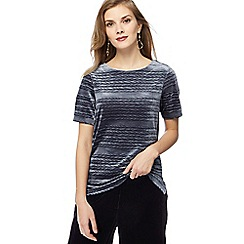 RJR.John Rocha - Grey velvet textured ripple top