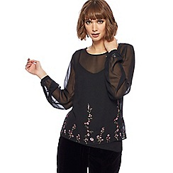 RJR.John Rocha - Black floral embroidered top