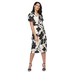 RJR.John Rocha - Ivory and black floral print satin V-neck midi wrap dress