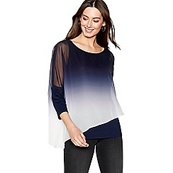 RJR.John Rocha - Navy ombre asymmetric layered top