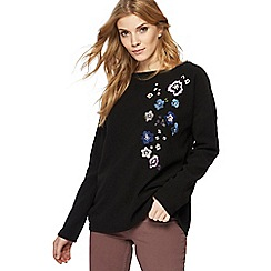 RJR.John Rocha - Black textured floral embroidered jumper