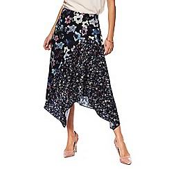 RJR.John Rocha - Black floral patchwork print hanky hem skirt