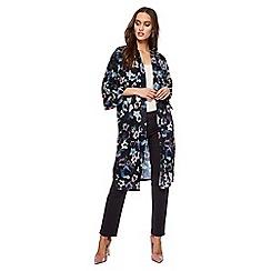 RJR.John Rocha - Black satin floral print longline kimono