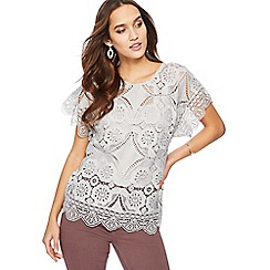 RJR.John Rocha - Grey lace shell top