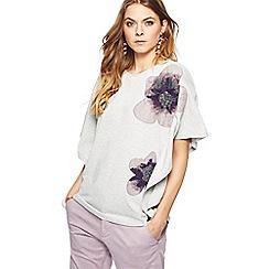 RJR.John Rocha - Grey floral applique batwing sleeve top