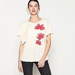 RJR.John Rocha - Pink floral embellished crepe short sleeve top