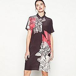 RJR.John Rocha - Dark grey floral print silk knee length shirt dress